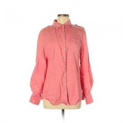 Banana Republic Factory Store Long Sleeve Button Down Shirt: Pink Solid Tops - Size Medium