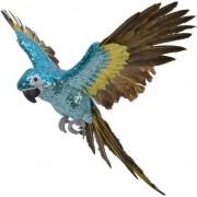 Decoris Blauw/geel woondecoratie beeld vliegende ara papegaai vogel 40 cm