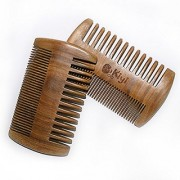 MooKiYi Handmade Green Sandalwood No Static Fine / wide Toothed Pocket Comb Brush Beard and Mustache Comb Hair Brush