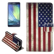 Retro USA Flag Pattern Horizontal Flip Leather Case with Holder & Card Slots for Samsung Galaxy A7 / A700F