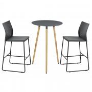 [en.casa] Mesa de bar redonda - diseño retro - gris - set de 2 sillas de diseño - gris
