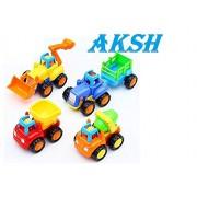 AKSH Unbreakable Engineering Construction Set Set of 4 ( JCB , Tractor ,Dumper ,Cement Mixer )