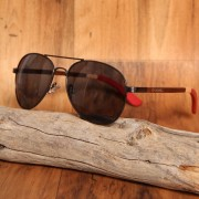 Aviator Style Silver & Three Color Walnut Bamboo Wood Sunglasses.