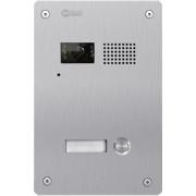 Golmar 7101 ROCK INOX* 1 nyomógombos audiós és videós kültériegység modul beszédráccsal névtábla inox.