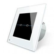 Intrerupator dublu cu touch Livolo din sticla - Seria R Alb