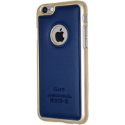 """iPhone 6 4.7"""" inch, Exclusive Luxury PU Leather Back with Metal Bumper Case Cover (Blue)"""