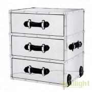 Masuta Living design modern cu sertare si manere din piele CATALINA aluminiu/ negru 105953 HZ