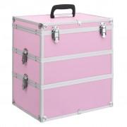 vidaXL rózsaszín alumínium sminktáska 37 x 24 x 40 cm