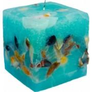 Lumanare Decorativa Parfumata Cub din Ocean Albastru Oceanic Parfum Lavanda