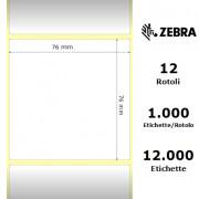 Etichette Zebra - Z-Ultimate 3000T White, formato 76 x 76