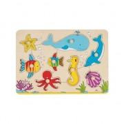 Puzzle animale marine din lemn cu 8 piese -Goki, 30 x 10 x 2.4 cm