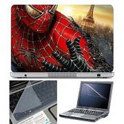 FineArts Laptop Skin Spiderman Turning Black With Screen Guard and Key Protector - Size 15.6 inch