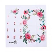 YeahiBaby Monthly Milestone Blanket Newborn Photography Red Wreath Background Baby Shower Props