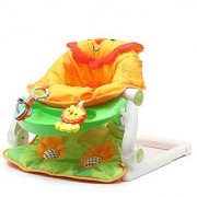 Fiddle Diddle Baby Bouncer Cum Rocker with Vibration Function Music Three Position Recline Bouncy Action and 3 Toys (Lion Green)