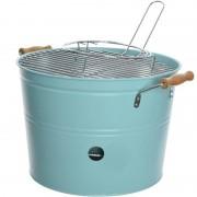 Merkloos Grote lichtblauwe houtskool barbecue/bbq emmer 33 x 24 cm rond