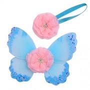 Generic Baby Photo Props Flower Headband Fairy Glitter Butterfly Wings Sets - light blue