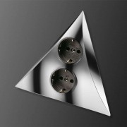 Luxor power point with 2 sockets, chrome