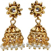 Lucky Jewellery Golden Designer Pearl & Stone Partywear Jhumki