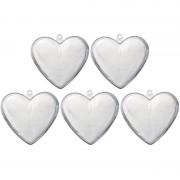 Merkloos 5x Plastic transparante hartjes 6 cm decoratie/versiering