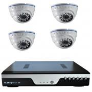 Kit vidéo-surveillance 4 caméras dômes ip 720p + dvr ip avec support poe