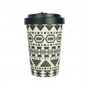 Woodway coffee to go beker bamboe aztec - zwart - 400 ml