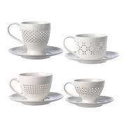Pols Potten Tasse à thé Pierced / Set de 4 tasses et soucoupes - Pols Potten blanc,transparent en céramique