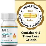 INLIFE Vitamin D3 (Cholecalciferol) 1000 IU 60 Capsules For Bone Health