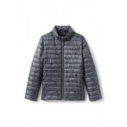 Lands' End Gemusterte Steppjacke THERMOPLUME mit Packfach für Kinder - Grau - 152/164 von Lands' End