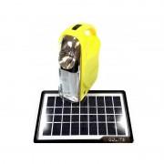 Sistem Iluminare LED cu Incarcare Solara, 3 Becuri LED si Lampa Portabila GD-7 Galben
