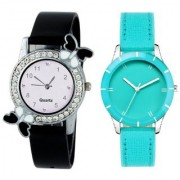 Slim & Shiny Look Sky Blue & Black butterfly on diamond studded case analog 71430 Standard Quality Premium Colllection watch Collection