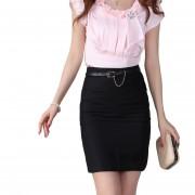 EH Alta Cintura Mujeres Oficina Faldas Faldas Lápiz Casual Sexy Slim Skirt Volver Split M - Negro