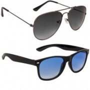 Marabous Aviator, Wayfarer Sunglasses(Black, Violet, Blue)