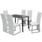 Set masă și scaune de bucătărie, alb și negru, 7 piese