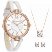Pierre Cardin Set bijuterii ceas cercei si colier PCX7496L300 Alb / Auriu