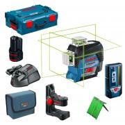 BOSCH GLL 3-80 CG + BM 1 Nivela laser cu linii verzi (30 m) + Suport + L-BOXX + LR 7 Receptor