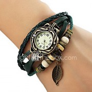 Dames Modieus horloge Armbandhorloge Kwarts PU Band Bladeren Bohémien Zwart Rood Orange Bruin Groen