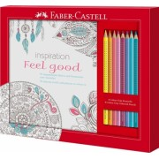 Set cadou Feel Good 8 creioane colorate Grip si carte colorat Faber-Castell