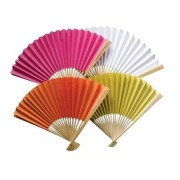 Plain Coloured Paper Fans - Personalised Handle