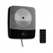 Auna Vertiplay Reproductor de CD Bluetooth Luz nocturna Radio FM AUX Reloj digital Negro