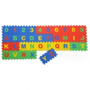 Colorful Kids play Puzzle style mat with Numbers and alphabets set of 36 Pcs 6 X 6 (Small Mat)