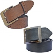Sunshopping men's brown and black leatherite needle pin point buckle combo(PSD-TB-PRM-14)
