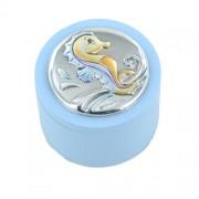 scatola porta dentino da bambina argento con ippocampo