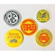 Avni Online Enterprises Pin Badges for Royal Enfield Riders (Multicolour) - Set of 5