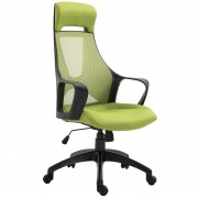 Vinsetto Office Computer Chair Adjustable Height Padded Linen Mesh High Back 360° Swivel Base Castor Wheels Green