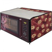 Glassiano Floral Red Printed Microwave Oven Cover for Samsung 28 Litre Convection Microwave Oven MC28H5025VB/TL Black