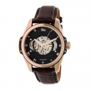 Reign Henley Automatic Semi-Skeleton Leather-Band Watch - Rose Gold/Black REIRN4506