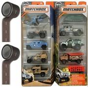 Military Matchbox Set 2 military 5-Pack vehicle set Heroic Vehicles Tank / Humvee / Helicopter - Jungle Adventure Jeep / Trucks / 4x4 - Bonus Road Play Tape 2 Rolls