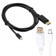 6Ft/1.8m Mini DisplayPort DP to DisplayPort DP 1.2 Cable Male to Male For MacBook Air HDTV (Black/White) ALLOYSEED