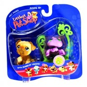 """Hasbro Year 2006 Littlest Pet Shop Pet Pairs """"Super Sassy Pets"""" Series Bobble Head Pet Figure Set Tan Color Bulldog Puppy (#135) And Lavender Color Spider (#136) With Spider Web (51897)"""