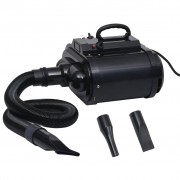 vidaXL Sèche-poils à double moteur pour animaux de compagnie Noir